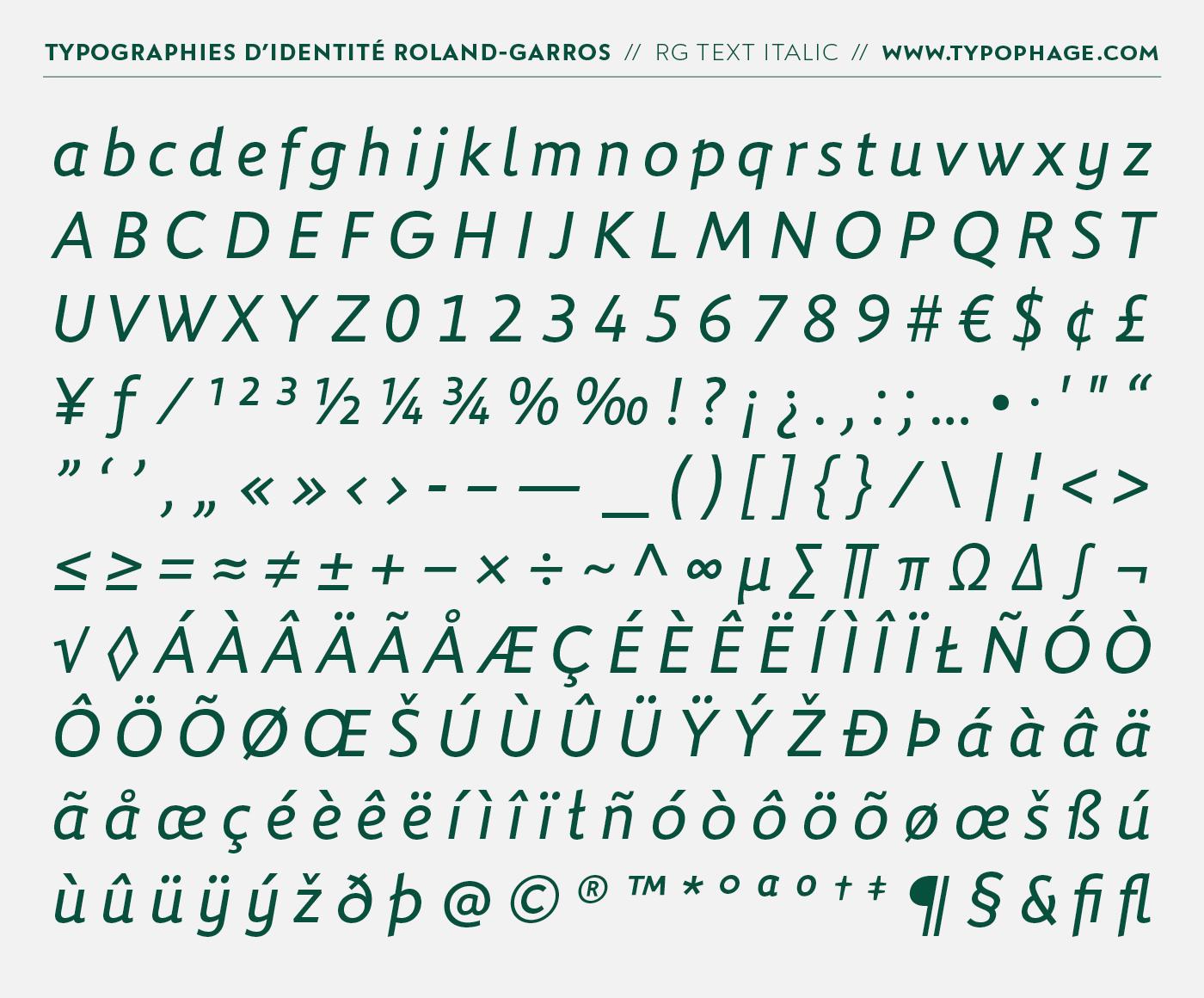 Typographies exclusives pour Roland-Garros par Christophe Badani - www.typophage.com