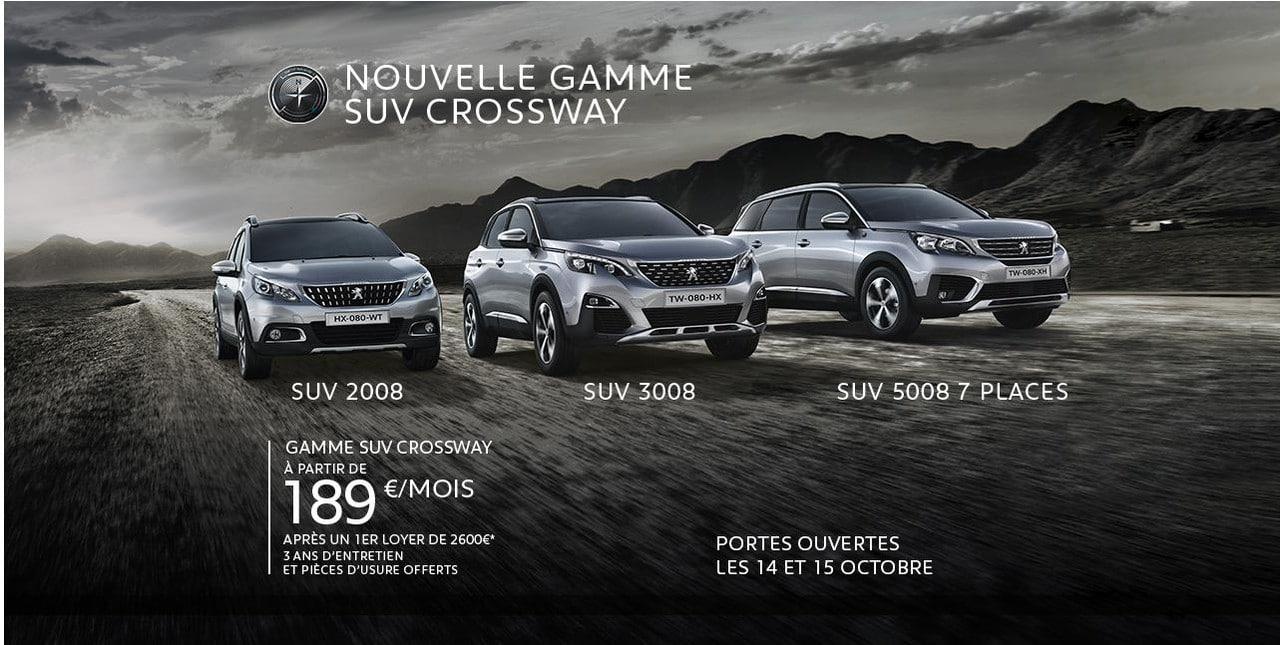 Typographies d'identité Peugeot. Applications des typographies. Peugeot 308. Nouvelle gamme SUV Crossway.