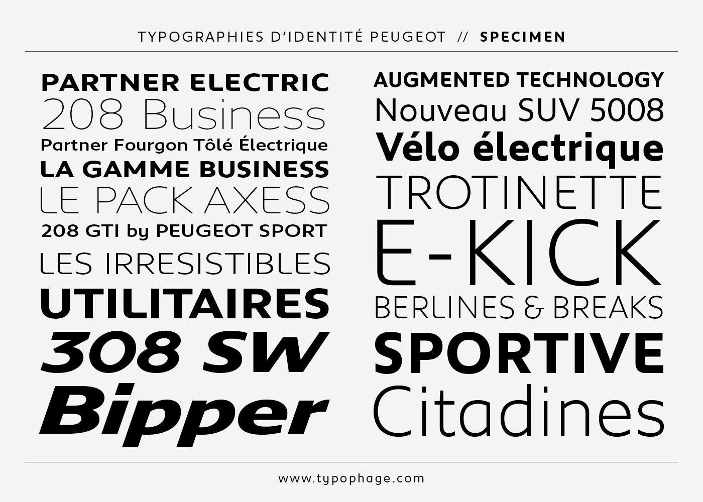 Typographies d'identité Peugeot. Spécimen de caractères typographiques.