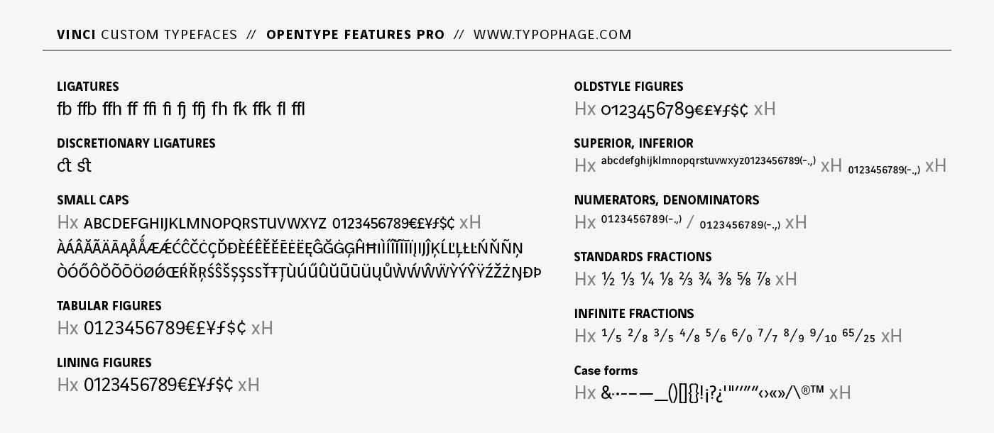Typographies exclusives Vinci. Les fonctions typographiques avancées OpenType.