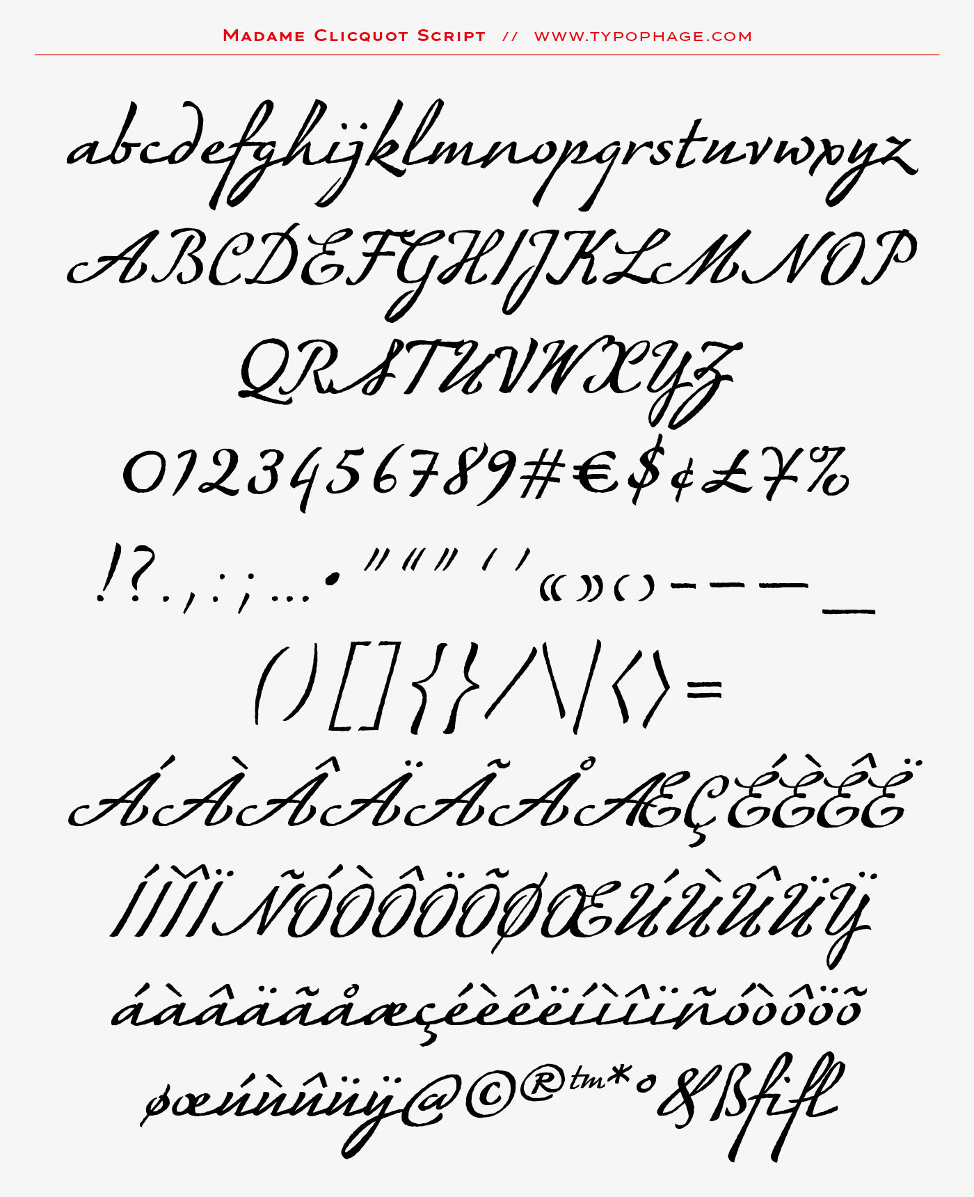 Typographie exclusive Veuve Clicquot Ponsardin. Alphabet sur mesure, typographie d'identité. Specimen de caractères typographiques.