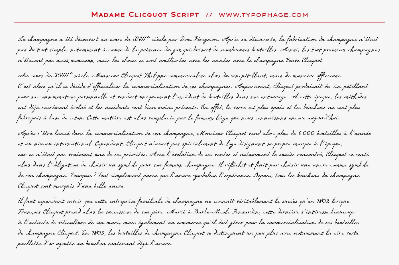Typographie exclusive Veuve Clicquot Ponsardin. Alphabet sur mesure, typographie d'identité. Specimen de caractères typographiques. Typographie scripte. Ecriture typographiée.