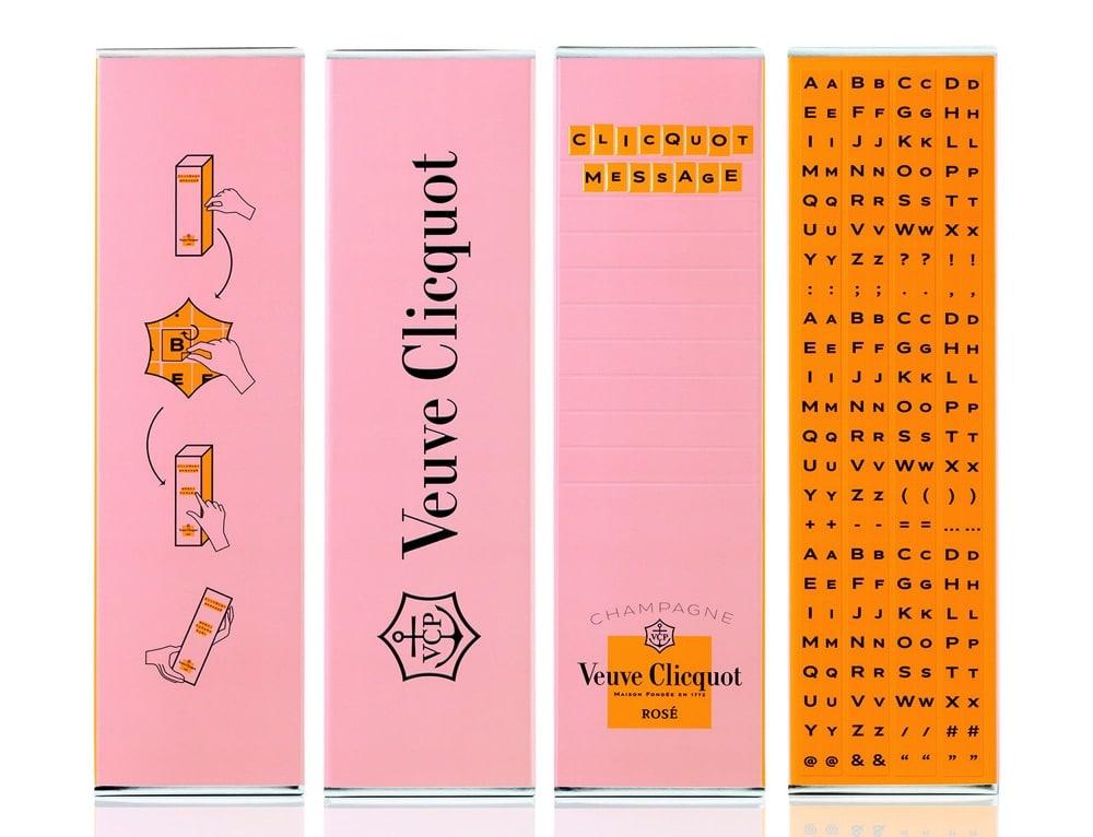 Typographie exclusive Veuve Clicquot Ponsardin. Alphabet sur mesure, typographie d'identité.