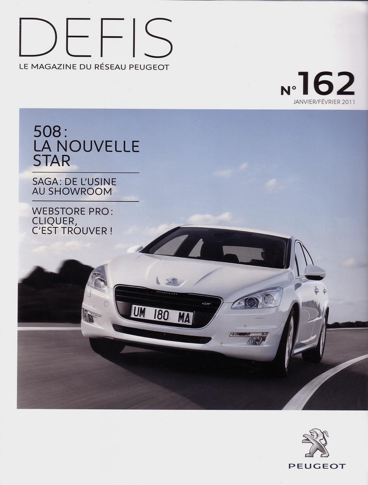 Typographies d'identité Peugeot. Applications des typographies. Magazine Défis. Le magazine du réseau Peugeot.