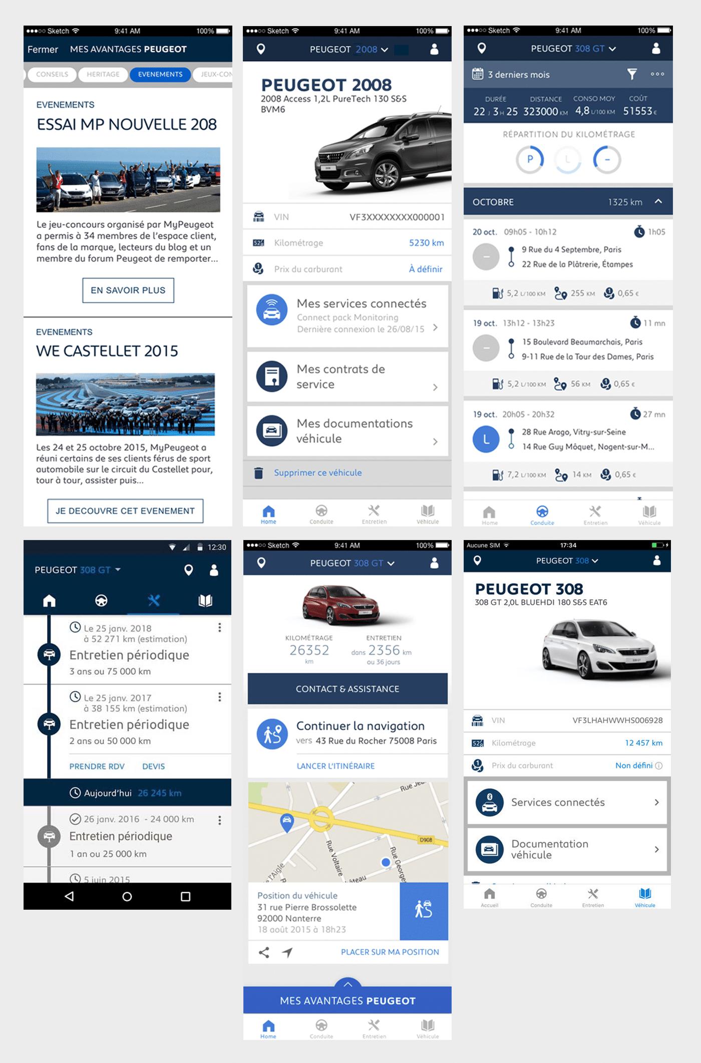 Typographies d'identité Peugeot. Applications des typographie, MYPeugeot APP.