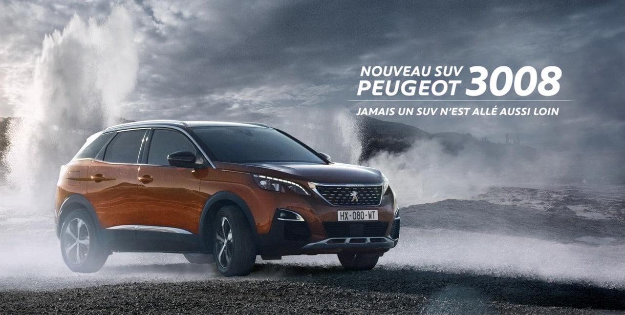 Typographies d'identité Peugeot. Applications des typographie, Nouveau SUV 30008.