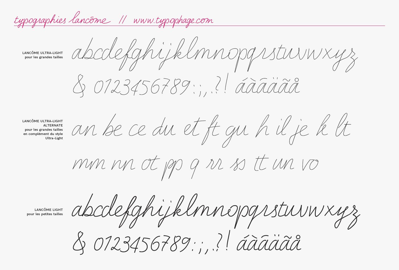 Typographie Lancôme, les trois styles.
