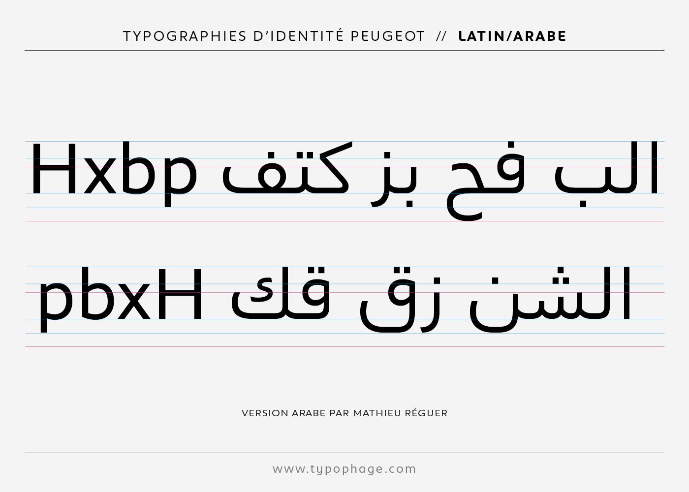 Typographies d'identité Peugeot. Spécimen de caractères versions arabes.