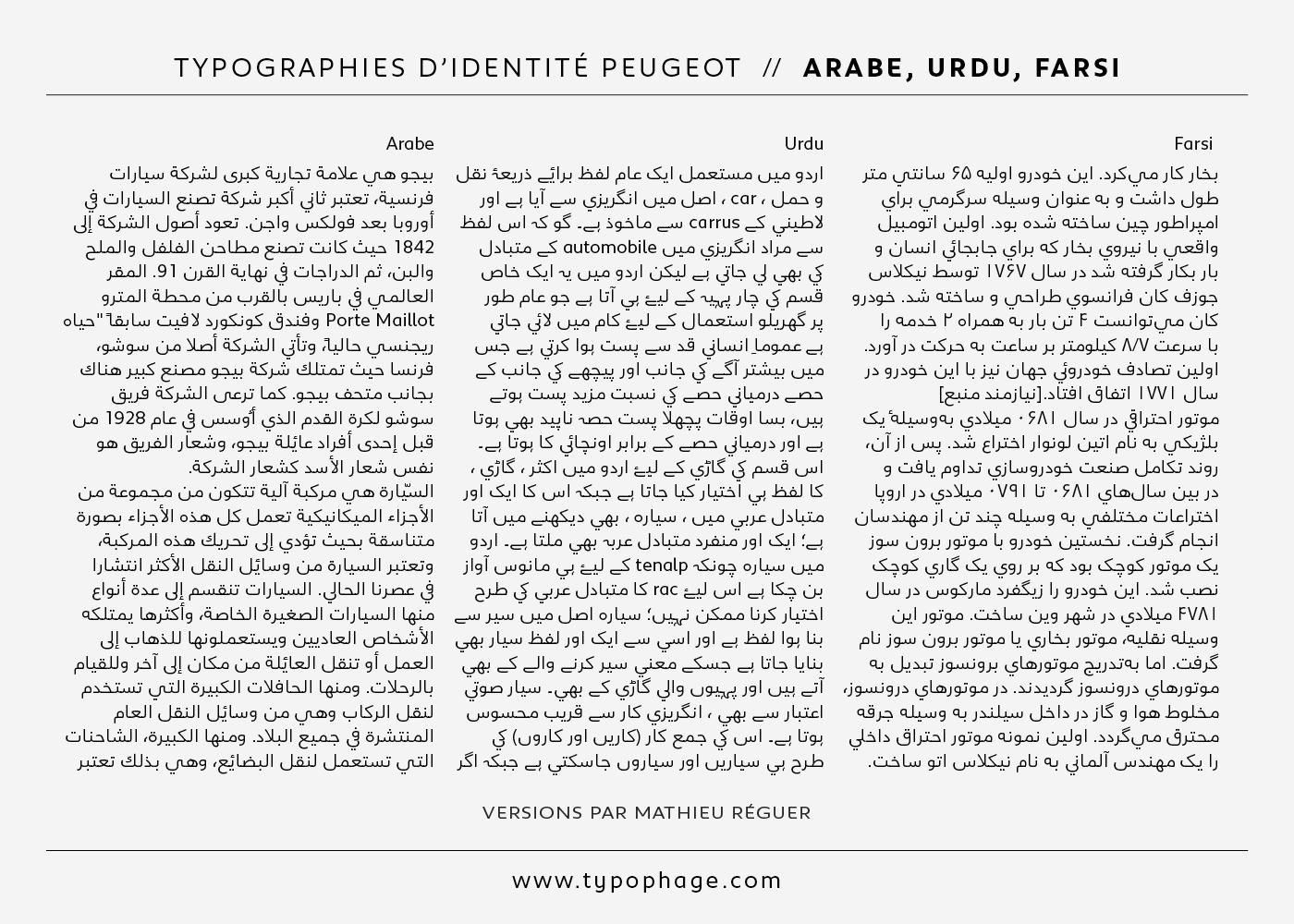 Typographies d'identité Peugeot. Spécimen de caractères typographiques, versions arabes.